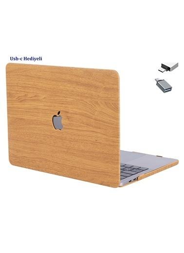 """Mcstorey Yeni MacBook Pro Type-c A1706 A1708 A1989 A2159 13"""" Kılıf Kapak Koruma   Ahşap desen01-D6-1459 Kahve"""
